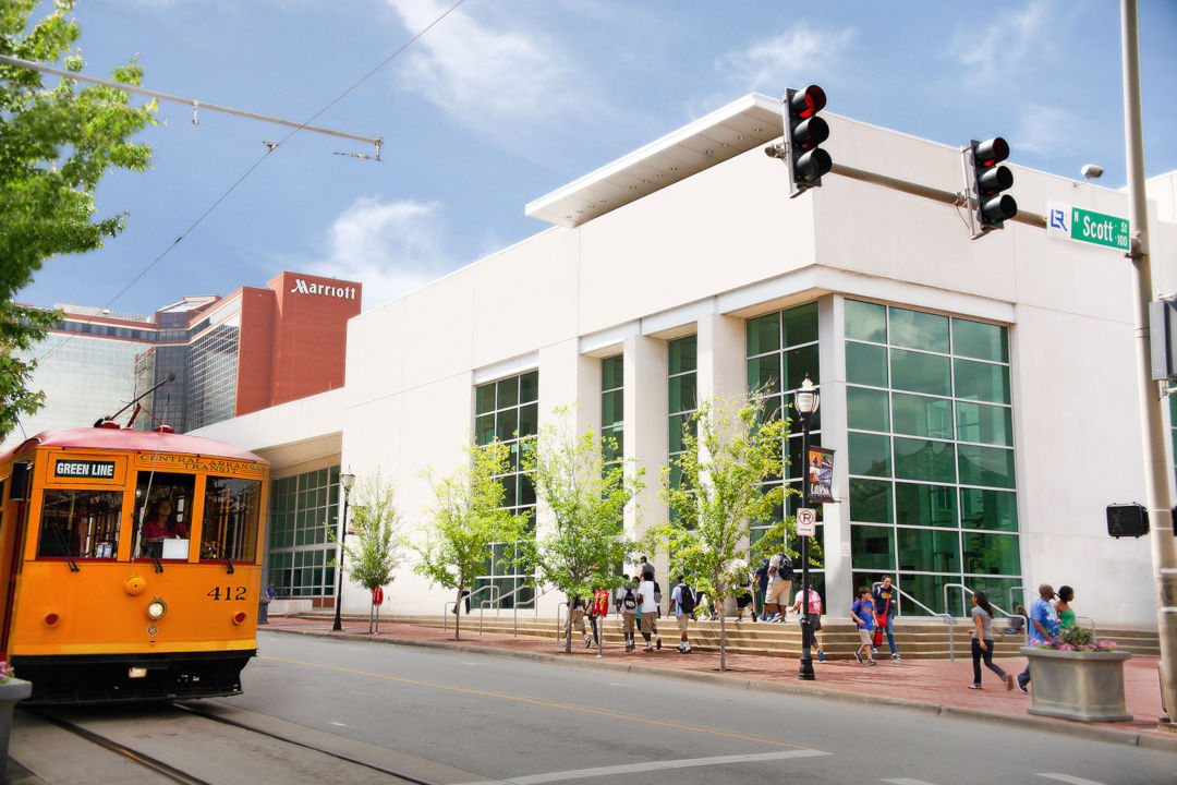 Statehouse Convention Center-markham street, street car and Little Rock Marriott